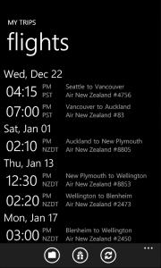 List of flight details